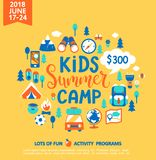 Kids Summer camp with a lot of camping equipment. Kids Summer camp concept with handdrawn lettering, Camping and Travelling on holiday with a lot of camping vector illustration