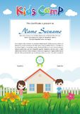 Adorable kids summer camp diploma royalty free illustration
