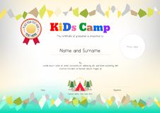 Kids Summer Camp Diploma or certificate template award ribbon an. D photo affix space vector illustration