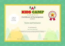 Kids summer camp diploma or certificate template with colorful b vector illustration
