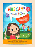 Kids summer camp education poster flyer. Kids summer camp education advertising poster flyer template Stock Photo