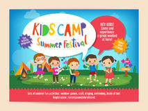 Kids summer camp education poster flyer. Kids summer camp education advertising poster flyer template with illustration of children doing activities on camping Stock Image