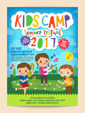 Kids summer camp education poster flyer vector illustration