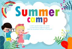 Kids summer camp education Template for advertising brochure, children doing activities on camping , poster flyer template. Your text ,Vector Illustration vector illustration