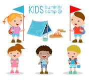 Kids summer camp, Kids on a Camping Trip. Vector illustration of kids summer camp, Kids on a Camping Trip Stock Photography