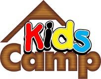Kids Summer Camp. Logo wooden background stock illustration