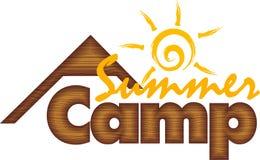 Kids Summer Camp. Logo wooden background vector illustration