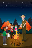 Kids in summer camp. A vector illustration of kids and their counselor having a bonfire in a summer camp vector illustration