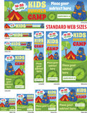 Kids Summer Camp Web Banners Set Royalty Free Stock Photos
