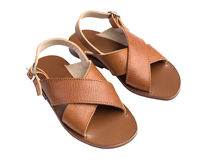 Kids Summer Leather Brown Shoes Royalty Free Stock Photography
