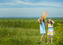 Kids summer in the meadow with orange net Royalty Free Stock Photos
