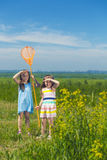 Kids summer in the meadow with orange net Stock Photography