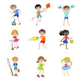 Kids On Summer Vacation Collection Royalty Free Stock Photo