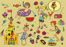 Kids on Summer Vacations. Vector collection of happy kids and summer objects Stock Images