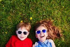 Kids in sunglasses Stock Images