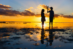 Kids at sunset Royalty Free Stock Photography