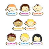 Kids with Superb label plates set vector illustration. Portraits with smile and various hairstyle. Kids with Superb label plates set vector illustration Royalty Free Stock Photo