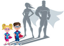 Kids Superhero Concept. Conceptual illustration of little children with superhero shadows Stock Photo