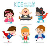 Kids With Superhero Costumes, Superhero Children's, Superhero Kids. Royalty Free Stock Images