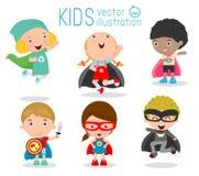 Kids With Superhero Costumes, Superhero Children's, Superhero Kids. Kids With Superhero Costumes set, kids in Superhero costume characters isolated on white Royalty Free Stock Photos