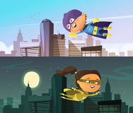 Kids Superhero Two Horizontal Banners Stock Images