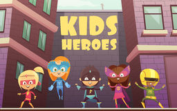 Kids Superheroes Cartoon Illustration Stock Images