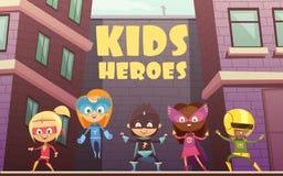 Kids Superheroes Cartoon Illustration. Kids superheroes vector illustration with team of comic cartoon characters dressed in superheroes costumes on isometric Stock Images