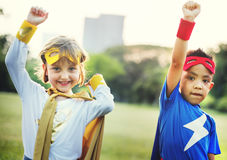 Kids Superheroes Fun Costumes Play Concept Royalty Free Stock Photos