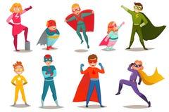 Kids Superheroes Retro Set Royalty Free Stock Photos