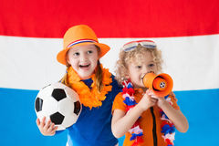 Kids supporting Netherlands football team Royalty Free Stock Photography