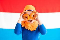 Kids supporting Netherlands sport team Royalty Free Stock Photo