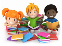 Kids Surrounded by Books Stock Images