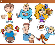 Kids and sweets set cartoon Royalty Free Stock Photos