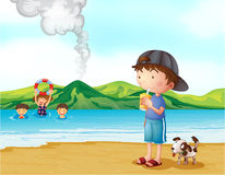 Kids swimming and a boy and his pet at the seashore. Illustration of kids swimming and a boy and his pet at the seashore Royalty Free Stock Photos