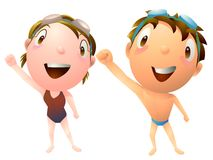 Kids swimming class sports club. Boy and girl illustration Royalty Free Stock Image