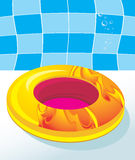 Kids swimming mattress by the pool. Illustration Royalty Free Stock Photography