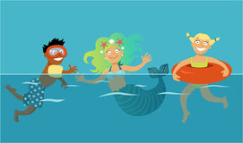 Kids swimming with mermaid Royalty Free Stock Photo