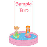Kids in the swimming pool. Vector Illustration of funny Kiddie style design summer background with Kids in the swimming pool Stock Photos