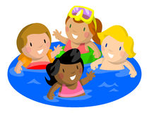 Kids Swimming in Pool Royalty Free Stock Image