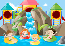 Kids swimming in the pool with waterfall. Illustration Royalty Free Stock Photos
