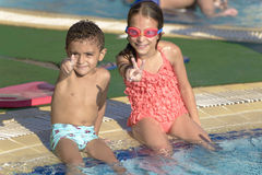 Kids at Swimming Pool Royalty Free Stock Photos