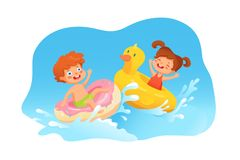 Kids swimming at sea flat vector illustration. Kids swimming flat vector illustration. Summer vacation. Children playing at sea, river cartoon characters stock illustration