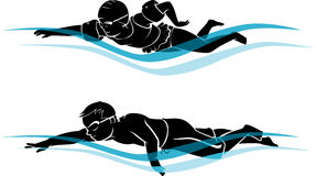 Kids Swimming Silhouette Royalty Free Stock Images