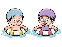 Kids swimming. Vector illustration of Kids swimming Stock Image