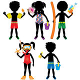 Kids Swimsuit Silhouettes Royalty Free Stock Image