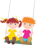 Kids on the swing Stock Image