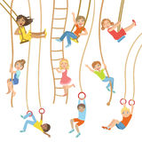 Kids On Swings And Other Rope Sports Equipment. Set Of Simple Design Illustrations In Cute Fun Cartoon Style  On White Background Royalty Free Stock Photo
