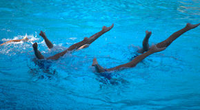 Synchronized swimming team. Group of little girls in a pool synchronized swimming team performing Royalty Free Stock Images