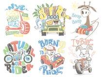 Kids T-Shirt Designs Set vector cartoon illustration. Kids T-Shirt Designs Set vector cartoon illustration royalty free illustration