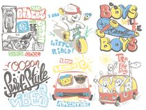 Kids T-Shirt Designs Set vector cartoon illustration. Kids T-Shirt Designs Set vector cartoon illustration stock illustration